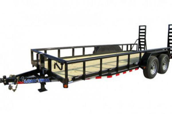 "Load Trail CP14 - Carhauler 14,000 Lb w/ 3"" x 5"" Angle Iron Frame and Pipe Top Rail"