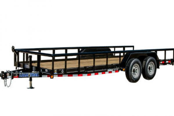 "Load Trail | Car-Hauler and Bob Cats | Model CP10 - Carhauler 9,990 Lb w/ 3"" x 5"" Angle Iron Frame and Pipe Top Rail"